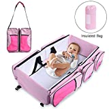Baabyoo Baby Travel Bed and Bag Baby Diaper Bag Portable Baby Diaper Change Station 4 in 1 Folding Baby Bag Newborn Carrier Infant Bassinet Baby Tote Bag Folding Crib Baby Shower Gift (Pink)