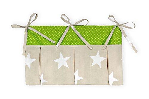 KraftKids Betttasche große weiße Sterne auf Beige weiße Punkte auf Grün, Hänge-Ablage 50 x Höhe 30 cm, Bett-Organizer