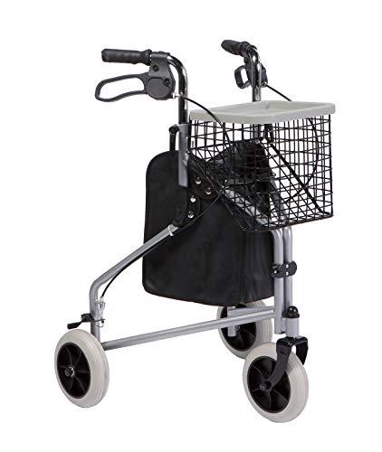 FabaCare Rollator Delta, 3-Rad-Rollator, Gehhilfe grau, Korb, Tablett, Feststellbremsen, Höhe verstellbar, Heimrollator mit 3 Rädern, bis 130 kg