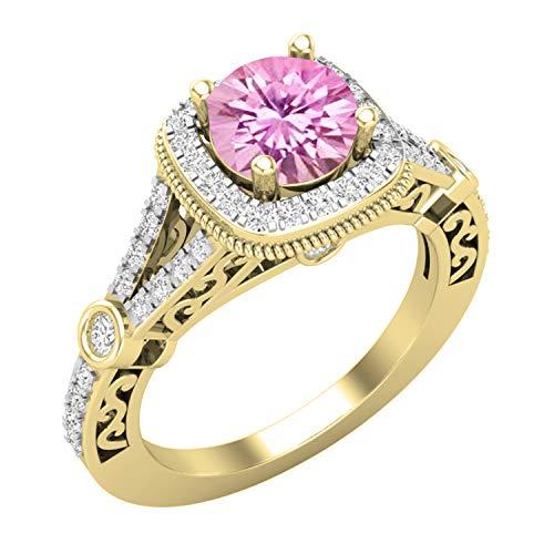 Dazzlingrock Collection Anillo de compromiso de 6 mm de oro amarillo de 18 quilates con zafiro rosa y diamante blanco natural, talla 10