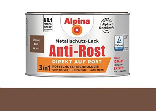 Alpina 300 ml Metallschutz-Lack, 3in1 Direkt auf Rost, RAL 8011 Braun Glänzend