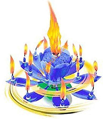 Musik Blumenkerzen Alles Gute zum Geburtstag mit Fontäne und Musik Kerzen Tortendeko Hochzeitsfontäne 14 Kerzen mit der bekannten Melodie Happy Birthday (Blau 14 Kerzen)