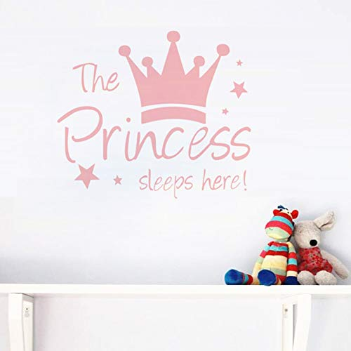 Crown Star Wall Decal Princess Sleep Here Wall Sticker Wall Art Decor for Kids Bedroom Baby Nursery Removable Home Background Decoration