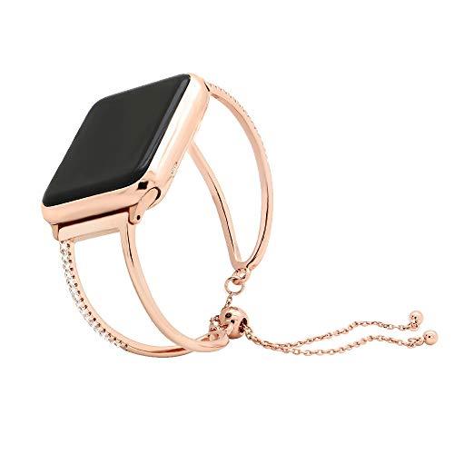 LIUZH Correa de metal compatible con Apple Watch Band 42 mm 44 mm, oro correa de repuesto con adaptador+funda compatible con IWatch Series 6 5 4 3 2 1 SE para mujeres, hombres y niñas