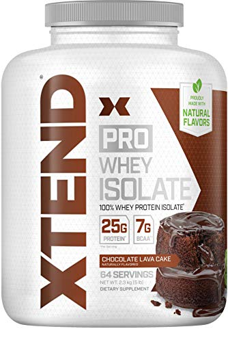 XTEND Pro Protein Powder Chocolate Lava Cake | 100% Whey Protein Isolate | Keto Friendly + 7g BCAAs with Natural Flavors | Gluten Free Low Fat Post Workout Drink | 5lbs