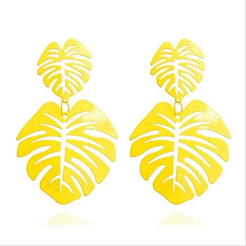 Épingles à oreilles feuilles boucles d'oreilles pour femmes cadeau boucles d'oreilles conception creuse femelle jaune