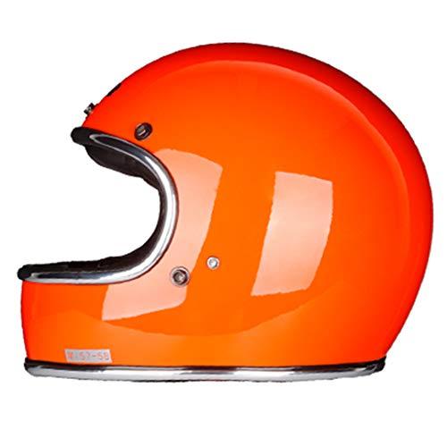 Casco de Motocicleta de Cara Completa de Fibra de Vidrio Casco de Estilo Vintage clásico Retro Gloss Orange M