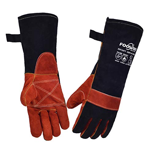 FOOWOO 16 inches Cowhide Leather Stick/MIG Welding Gloves with Long Sleeve, Heat & Fire Resistant Gloves, Mitts for Stove, Oven, Grill, Fireplace, BBQ, TIG/MIG Welding, Welder Work Gloves