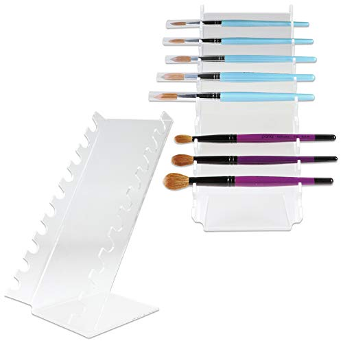 Beauticom (Quantity: 2 Pieces) Waterfall Pen Display Stand 10-Slots Premium Clear Acrylic Holder for Pen, Makeup Brush, E-Cigarette, Vapor, Pencil Display Stand. Premium Quality & Durable