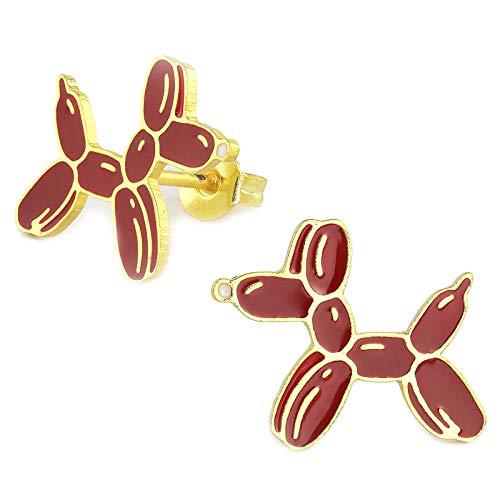 Monkimau Meisjes oorbellen pudel ballon oorstekers gemaakt van messing 18k goud geplateerd