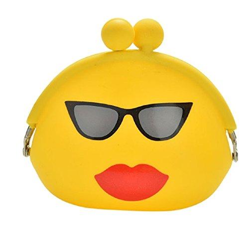 Niedliche Münzbox (Geldbeutel/Portemonnaie/Geldbörse) mit witzigen Emojis für Mädchen & Jungs aus weichem Silikon (auch als Schlüsseletui/Schlüsseltasche verwendbar) (Gelb (Kussmund))