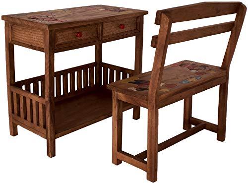 Asiatika-Online.de Komplett Set Kinder Kinderschreibtisch + Bank massiv Holz Asien Möbel Thailand