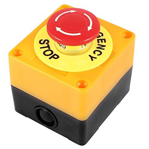uxcell プッシュボタンスイッチ 押しボタンスイッチ 非常停止用 プラスチック製 レッド シェル標識 赤サイン キノコ型ボタン AC 660V 10A