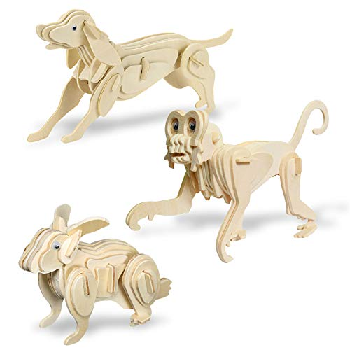 Puzzle 3D Madera, Kit de Construcción de Artesanía en Madera Modelo Perro Mono Conejo Rompecabezas para Niños Mayores de 8 Años (Paquete de 3)