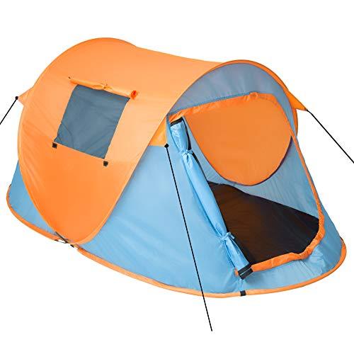 TecTake 800213 Pop-Up Wurfzelt für 2 Personen, Inkl. Spannseile, Heringe und Praktischer Tragetasche - Diverse Farben (Blau-Orange | Nr. 401674)