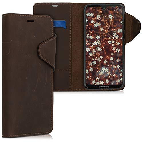 kalibri Wallet Hülle kompatibel mit Motorola Moto G7 / Moto G7 Plus - Hülle Leder - Handy Cover Handyhülle in Braun