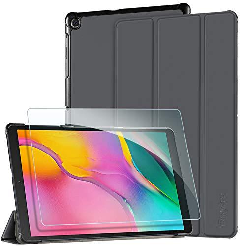 EasyAcc Funda y Protector de Pantalla para Samsung Galaxy Tab A 10.1 2019, Case Ultra Slim Carcasa Smart Cover PU Alta Definicion Cristal Vidrio Premium para SM-T510/ T515, Gris