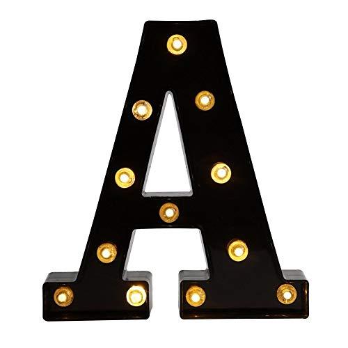 Lettere a LED decorative, 26 luci dell'alfabeto inglese, luce LED creativa, lettere in plastica nera per casa, feste, matrimoni, compleanni, San Valentino, festival, decorazione (A)