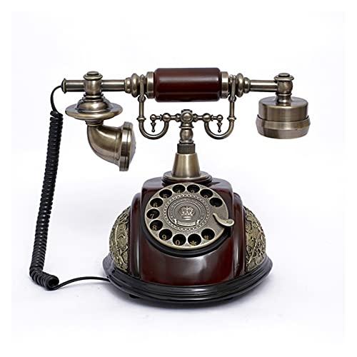 TAIJU-CHENCHEN Teléfono de dial rotativo Teléfonos fijos Antiguos de Moda con Campana de Metal clásico, RESOL DE Resina IMITACIÓN Cobre Retro RETRY DIAL Rotary TELÉFONO DE Oficina CHENCHEN