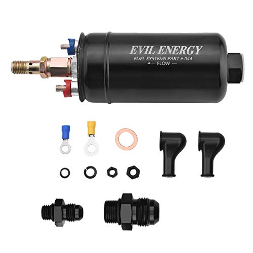 EVIL ENERGY External Fuel Pump 300LPH High Flow 12V 145psi Universal Fit for AN10 Inlet / AN6 Outlet