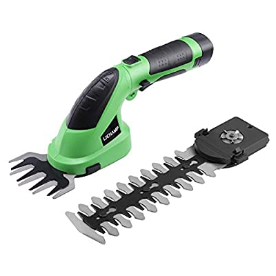 Lichamp 2-in-1 Electric Hand Held Grass Shear Hedge Trimmer Shrubbery Clipper Cordless Battery Powered Rechargeable for Garden and Lawn, CGS-7202 7.2V Grass Green