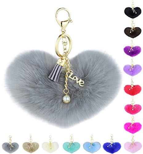 Grey Pom Pom Keychain with Fluffy Fur Ball Charm - Key Ring for Women