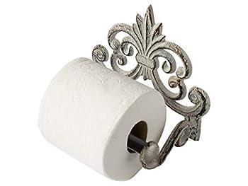 "Fleur De Lis Cast Iron Toilet Paper Roll Holder - Cast Iron Wall Mounted Toilet Tissue Holder - European Vintage Design - 6.75  x 6.25  x 4.25"" - with Screws and Anchors by Comfify  Antique White"
