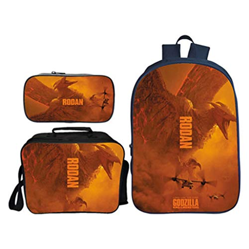 Children's Backpack 16-inch 3 Piece Suit Backpacks + Lunch Bag + Pencil Case Polyester Lining Primary School Bag -excellent Gift -Girls Boy B
