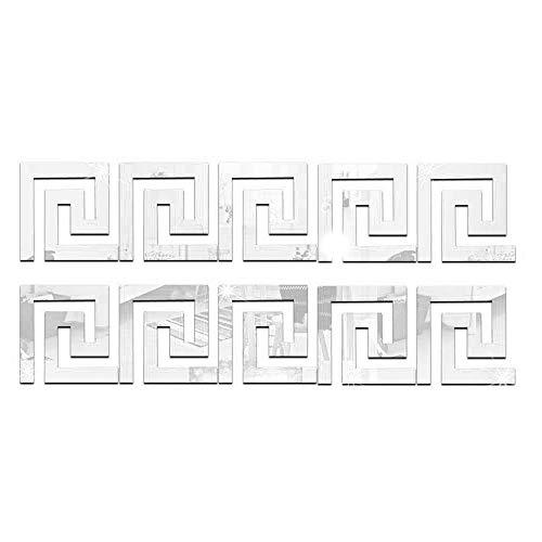 Konesky 10 Pegatinas de Pared de Espejo acrílico de Cintura geométrica, Pegatinas de Pared extraíbles con Efecto de Espejo, para habitación, Hotel, casa de huéspedes, Fiesta, Plateado