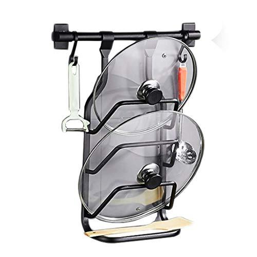 PIVFEDQX Scolapiatti Scaffale da Cucina Multifunzione Scarico in Alluminio Gancio Nero Coperchio per Pentola Immagazzinaggio A Parete per Uso Domestico 23 Cm * 48 Cm