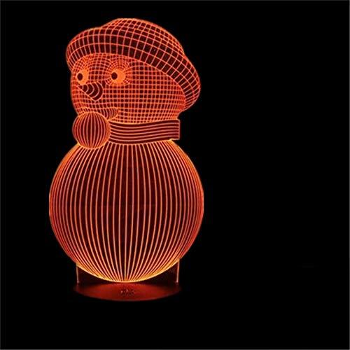 LBJZD luz de noche Navidad Muñeco De Nieve 3D Holograma Usb Táctil Lámpara De Escritorio Creativa Regalo Para Niños Luz Led Lámpara Luz De Noche Luz Para El Hogar Sin Mando A Distancia
