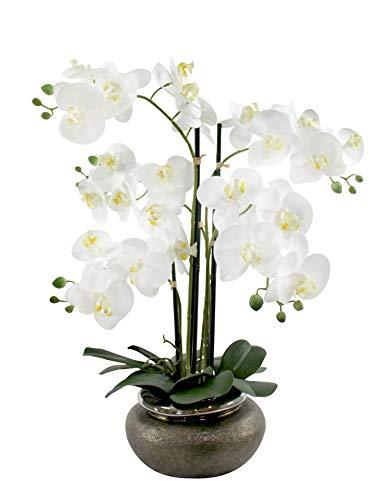 DARO DEKO Kunst-Pflanze Orchidee runder Topf braun Gold und weiße Blüten 60cm