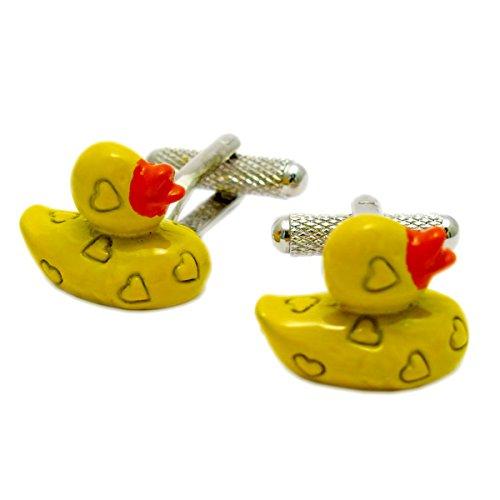 Boutons de manchette fantaisie – Motif canard en caoutchouc jaune