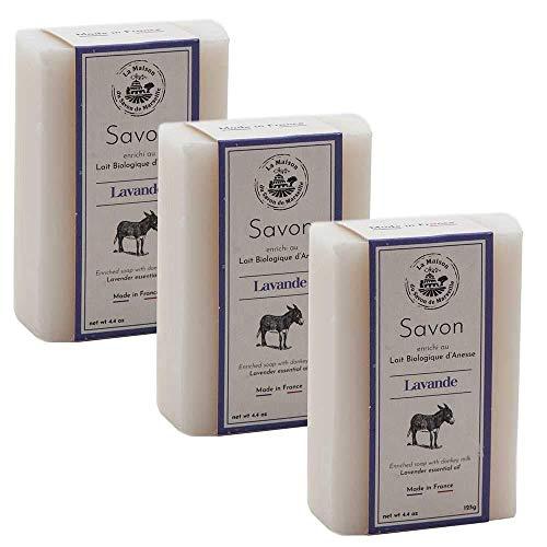 Maison du Savon de Marseille - French Soap made with Fresh Organic Donkey Milk - Lavender Fragrance - 3 x 125 Gram Bars