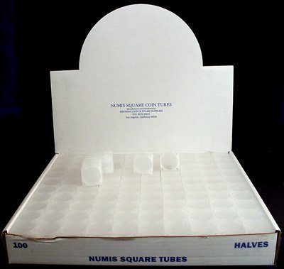 Box of 100 Numis Coin Tubes for Half Dollars
