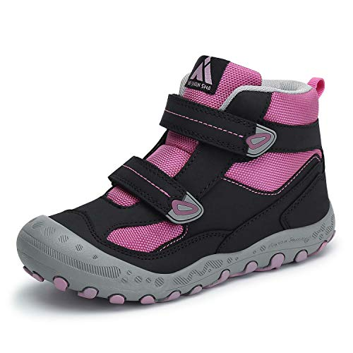 Mishansha Kids Boys Girls Water Resistant Hiking Boots Anti-Skid Outdoor Ankle Climbing Shoes Black/Pink