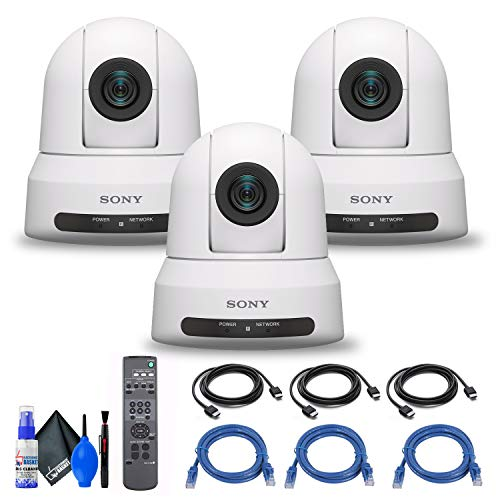 3 x Sony SRG-X400 1080p PTZ Camera with HDMI, IP & 3G-SDI Output (SRG-X400/W) + 3 x Ethernet Cable + Cleaning Kit + 3 x HDMI Cable - Bundle
