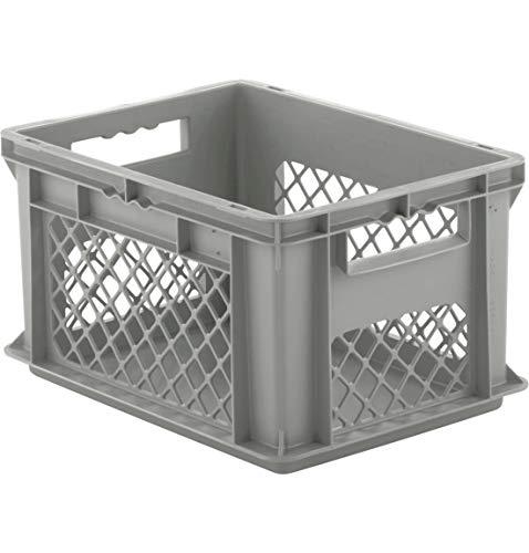 SSI Schäfer EF 4221 Eurokiste Kunststoffbox Transportbox offen ohne Deckel, 400x300 mm, 20,4 l, 15 Kg Tragkraft, Made in Germany, Grau