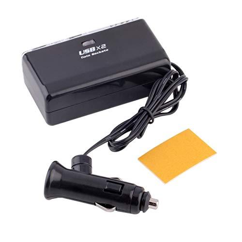 Easyeeasy Enchufe doble universal 2 puertos USB Coche Vehículo Divisor de encendedor de cigarrillos DC 12V / 24V Adaptador de cargador de coche Toma de corriente Negro