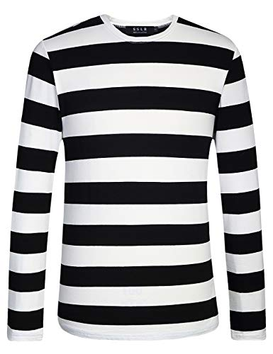 SSLR Men's Cotton Crew Neck Casual Long Sleeves Stripe T-Shirt (Medium, Black White)