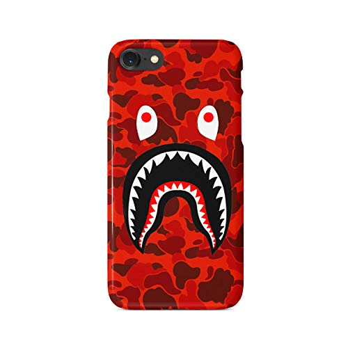 BrilliantCustoms Shark Mouth Teeth Camo Luxury Strong iPhone 7 Plus 8 Plus Case Cover Strong Skin (Red)