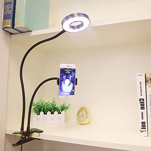 PElight LED Clip tafellamp, tablet-standaard en inklapbare smartphone, verstelbare zwanenhalshouder en uitbreidbare arm telefoon standaard (telefoonstandaard, zwart)