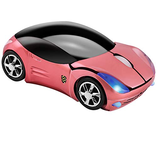 Cool 3D Sport Car Shape Mouse 2.4GHz Wireless Mouse Optical Ergonomic Gaming Mice Mini Small Office Mouse with USB Receiver for PC Laptop Computer for Kids Girls,1600DPI 3 Buttons(Pink)