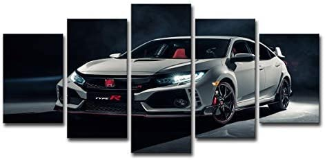 Amazon Com 5 Panel Wall Art White Honda Civic Type R Car Canvas Print Oil Painting Wall Picture On Canvas For Home Decoration Living Room Modern Artwork Gift Piece Framed 8x12inch 2p 8x16inch 2p 8x20inch 1p