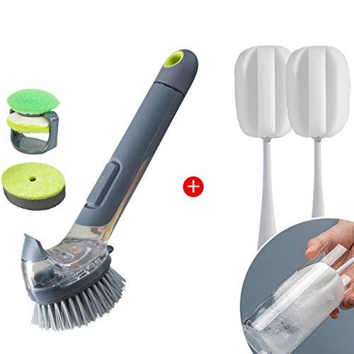 RTG Keuken Schotel Scrubber Zeep Automatische Dispenser, Vaatwasser Scrubber Spoelborstel voor Schotel Scrub Borstel met Zeep Handvat Diswasher Borstel met 2 Sponge Cup Borstels