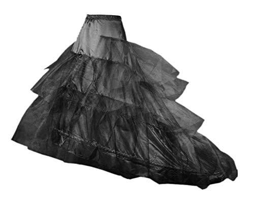 Loywe, Reifrock Petticoat mit Schleppe, aus Satin,Taille Umfang bis 90cm, LW4804-S-N