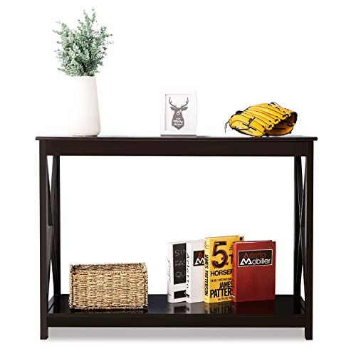 LYPULIGHT Console Table Side End Table Shelf Storage Wooden Hall Desk for Living Room Bedroom Hallway Home (Brown)