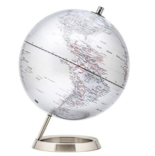 EXZACT 25cm Globus Silber-Metallic Mit Basis aus rostfreiem Stahl - Pädagogische/Geografische/Desktop-Dekoration - in Englischer Sprache - Silbermetallic