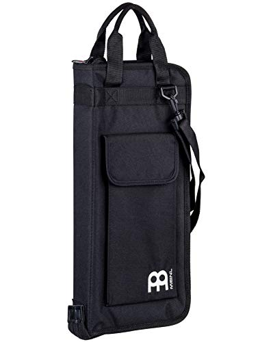 Meinl Percussion Drum Stick Bag with Extra Outside Pocket and Floor Tom Hooks – for Mallets, Brushes and Accessories, Black, Standard (MSB-1)