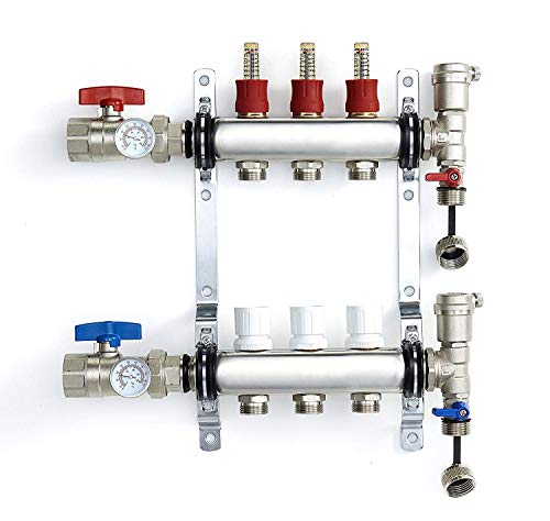 """PEX Manifold Radiant Floor Heating Set 3 Loop System Stainless Steel Heated Hydronic Heating For 1/2"""" Oxygen Barrier Tubing"""
